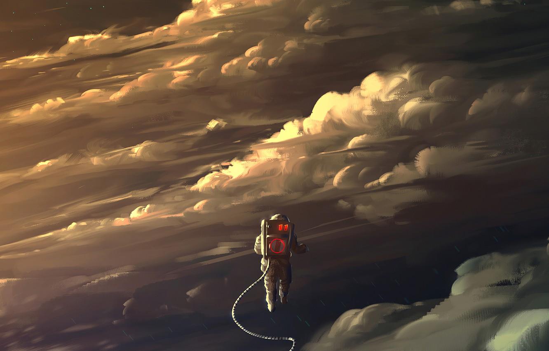 Фото обои fantasy, clouds, stars, digital art, artwork, fantasy art, helmet, spacesuit, Astronaut