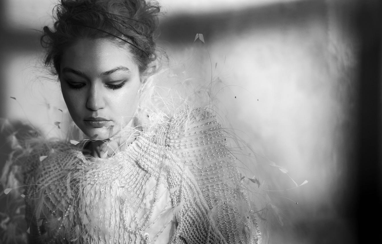Фото обои модель, портрет, черно-белое, Gigi Hadid