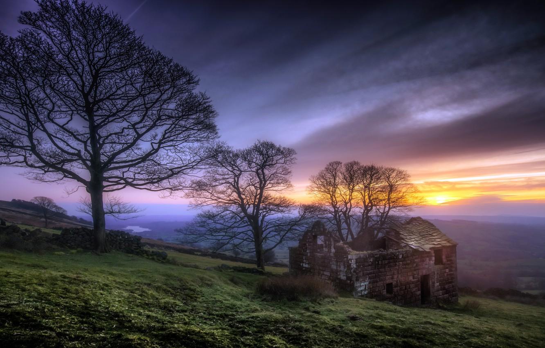 Фото обои landscape, sunset, tranquil, Peak District, Dusk, roaches