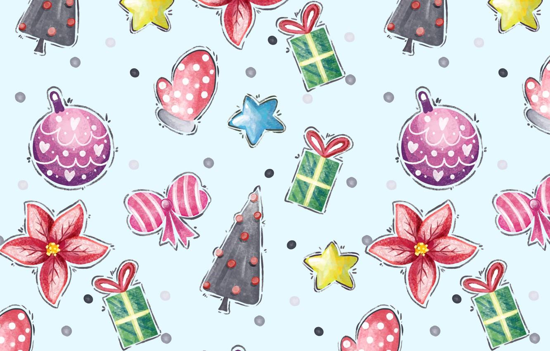 Фото обои фон, праздник, голубой, игрушки, новый год, вектор, текстура, Winter, pattern