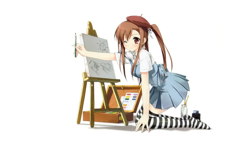 Фото обои рисунок, школьница, берет, на коленях, мольберт, полосатые чулки, by kantoku