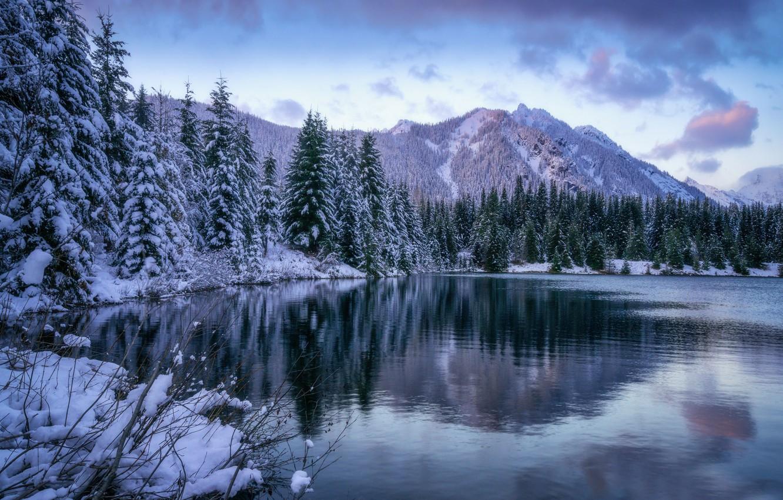 Фото обои зима, лес, горы, озеро, пруд, ели, штат Вашингтон, Каскадные горы, Gold Creek Pond, Washington State, …