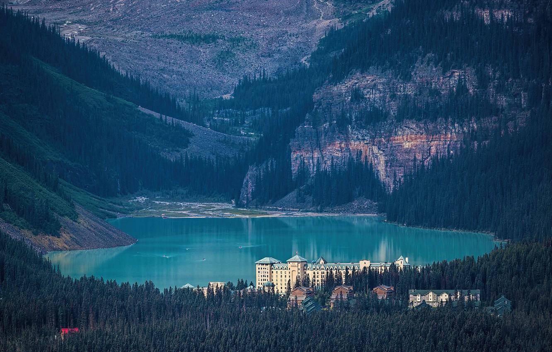 Фото обои лес, замок, Канада