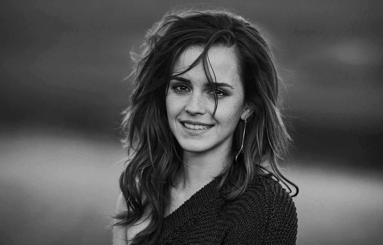 Фото обои девушка, black & white, актриса, girl, Эмма Уотсон, Emma Watson, фотосессия, smile, actress
