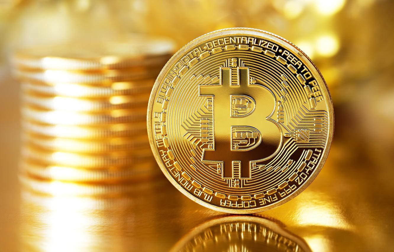 Фото обои размытие, logo, gold, монета, coin, bitcoin, биткоин, btc