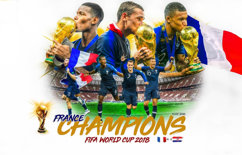 Фото обои футбол, Франция, 2018, Чемпионы Мира