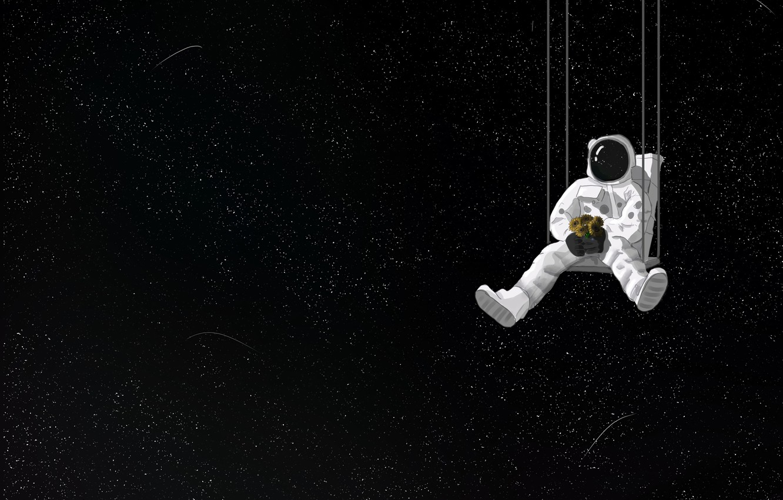 Фото обои космос, качели, букет, космонавт, арт