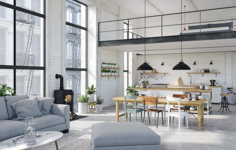Фото обои интерьер, кухня, камин, гостиная, столовая, Hamburg