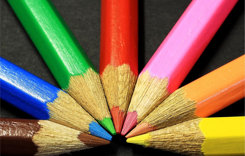 Фото обои макро, фото, фон, карандаши