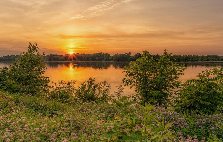 Фото обои закат, природа, озеро, красота