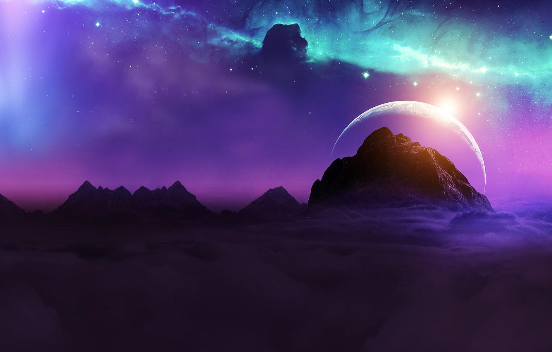 Фото обои space, universe, moon, sky, nebula, mountains, stars, night sky, planet, galaxy