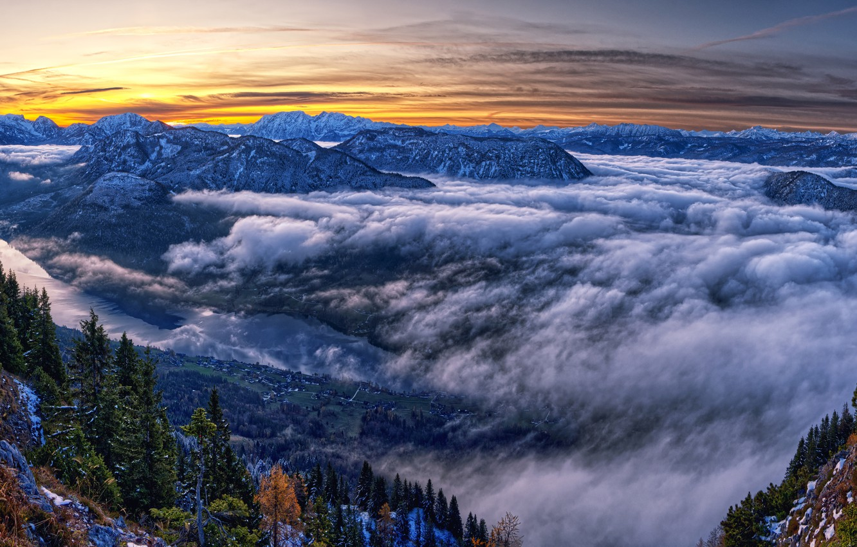 Фото обои фото, Природа, Облака, Горы, Австрия, Ель, Пейзаж, Styria