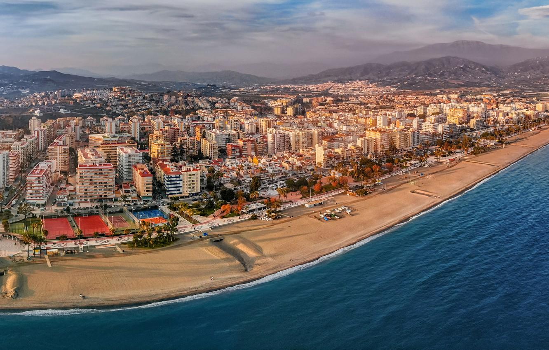 Фото обои море, пляж, горы, побережье, здания, дома, панорама, Испания, Spain, Андалусия, Средиземное море, Andalusia, Mediterranean Sea, …