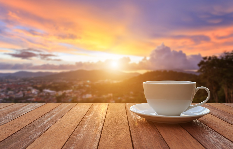 Фото обои восход, кофе, утро, чашка, веранда, cup, sunrise, coffee, good morning