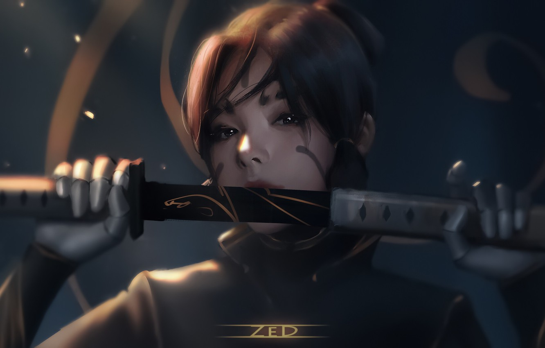 Фото обои dark, girl, sword, fantasy, weapon, katana, samurai, artist, ninja, digital art, artwork, warrior, fantasy art, …