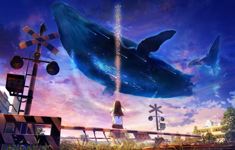 Фото обои небо, девушка, фэнтези, кит, школьная форма