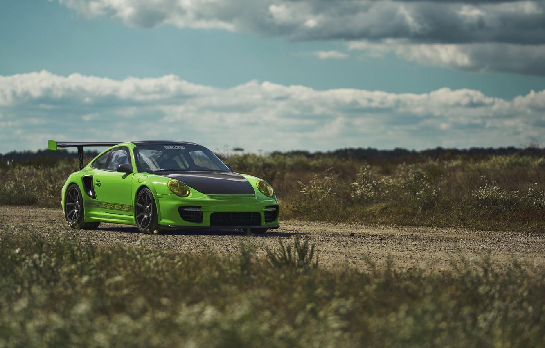 Фото обои Porsche, Green, GT2
