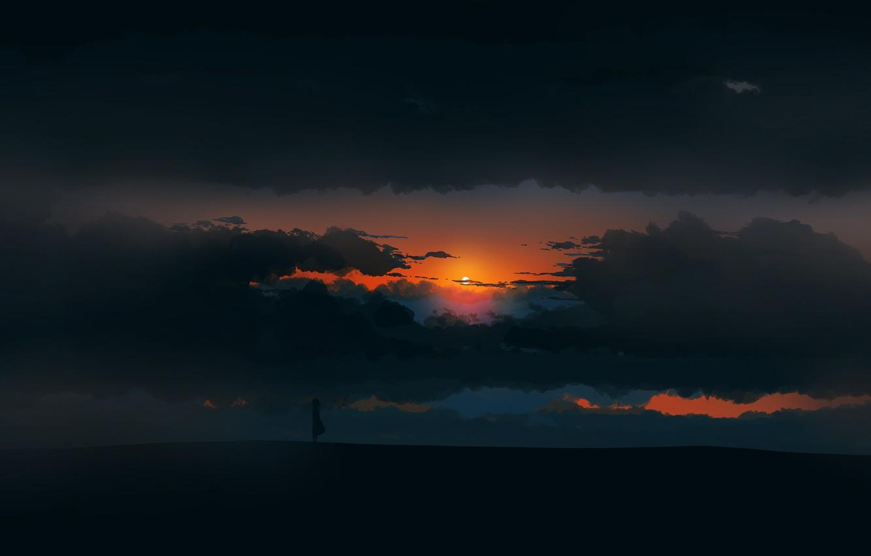 Фото обои girl, twilight, sky, landscape, Sunset, art, figure, clouds, sun, alone, mood, digital art, artwork, environment, …