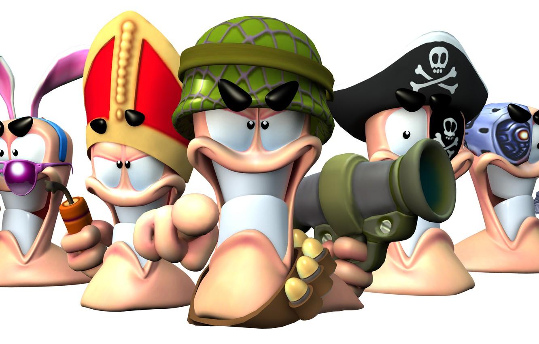 Фото обои очки, пират, уши, динамит, базука, worms, папа римский, червячки