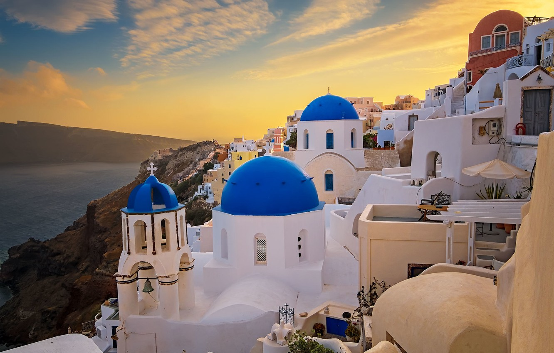 Обои греция, церковь, Облака, Облака, купол. Города foto 7