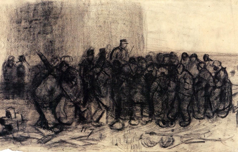 Фото обои люди, крест, скопление, военный, Vincent van Gogh, Sale of Building, Scrap 2