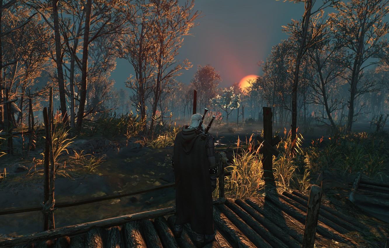 Фото обои Закат, Пейзаж, Мечи, The Witcher 3 Wild Hunt, Geralt