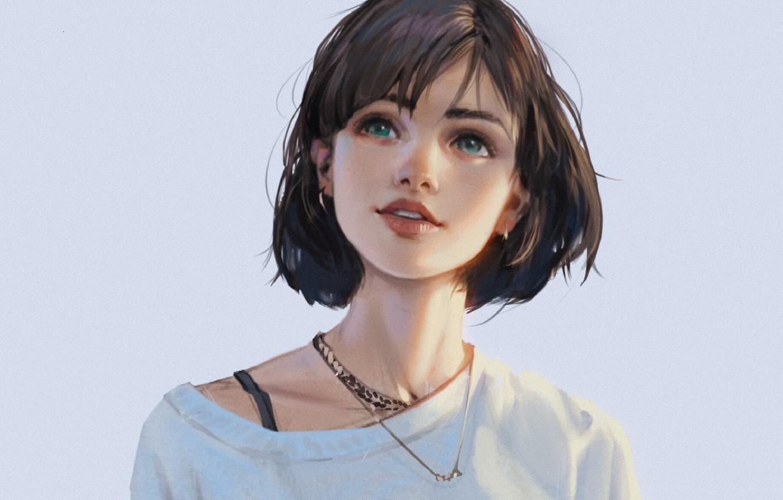 Фото обои лицо, улыбка, стрижка, губки, голубые глаза, голубой фон, свитер, челка, смотрит вверх, портрет девушки, цепочка …
