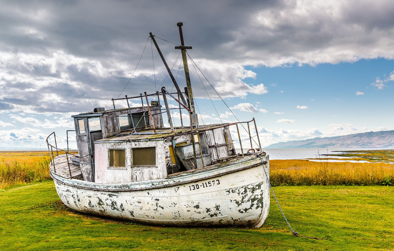 Фото обои фон, берег, корабль