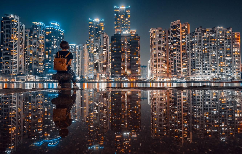 Фото обои девушка, ночь, город