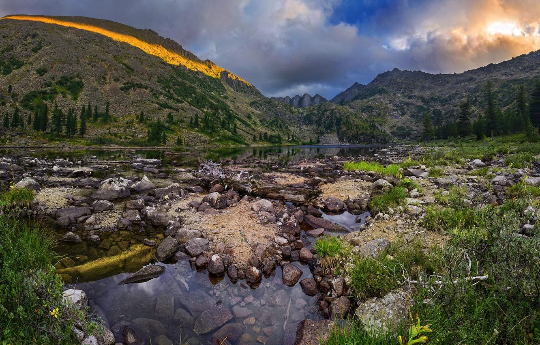 Фото обои закат, горы, Россия, Алтайский край