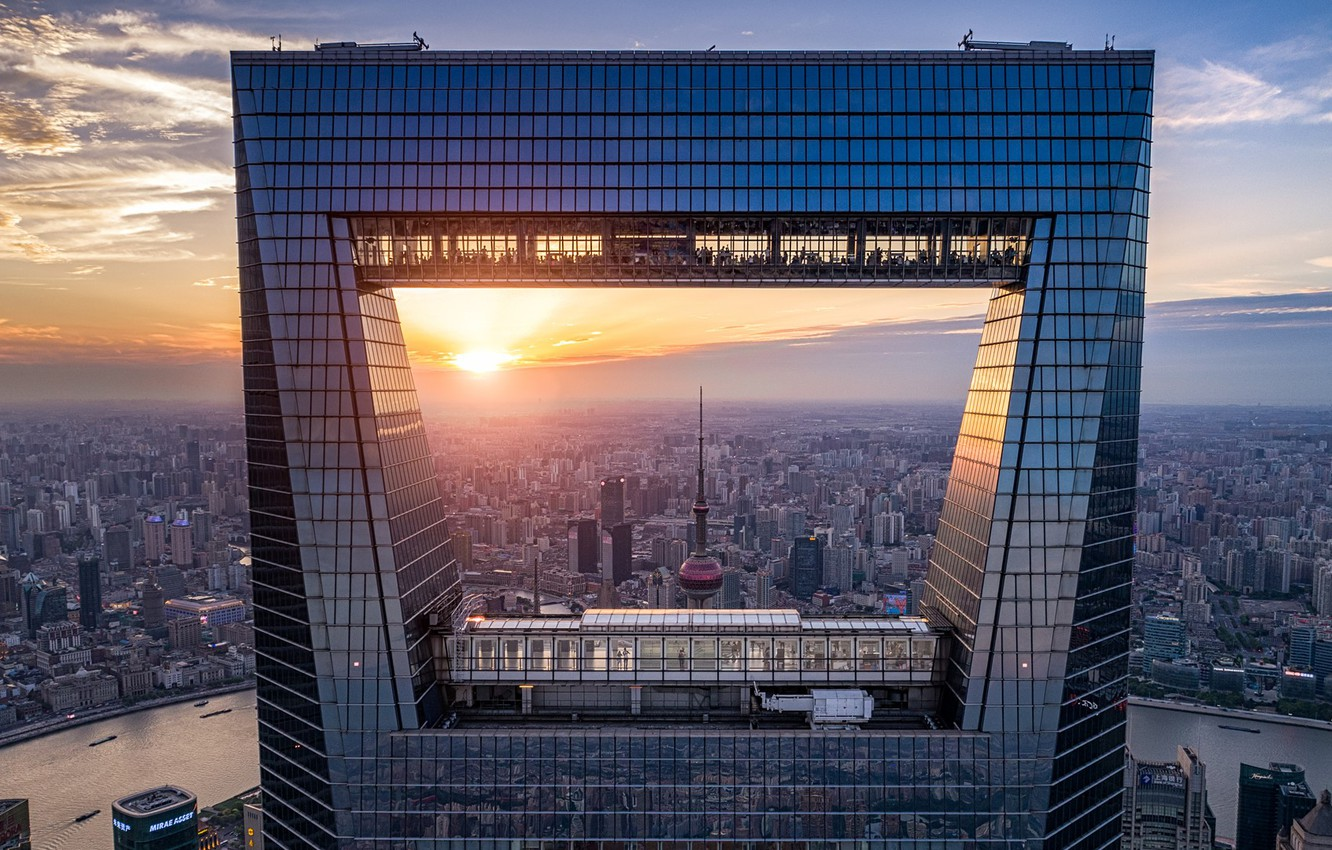 Фото обои city, China, Shanghai, river, sky, sunset, clouds, skyscrapers, building, cityscape