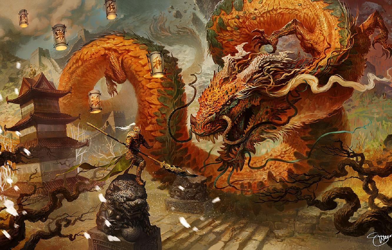 Фото обои усы, дракон, доспехи, чешуя, воин, фонари, ступени, рога, пагода, битва, золотой, art, скульптуры, огромный, поединок, …