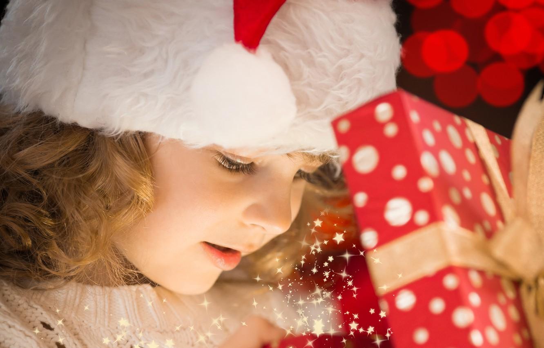 Фото обои праздник, подарок, волшебство, ребенок, Новый год, боке