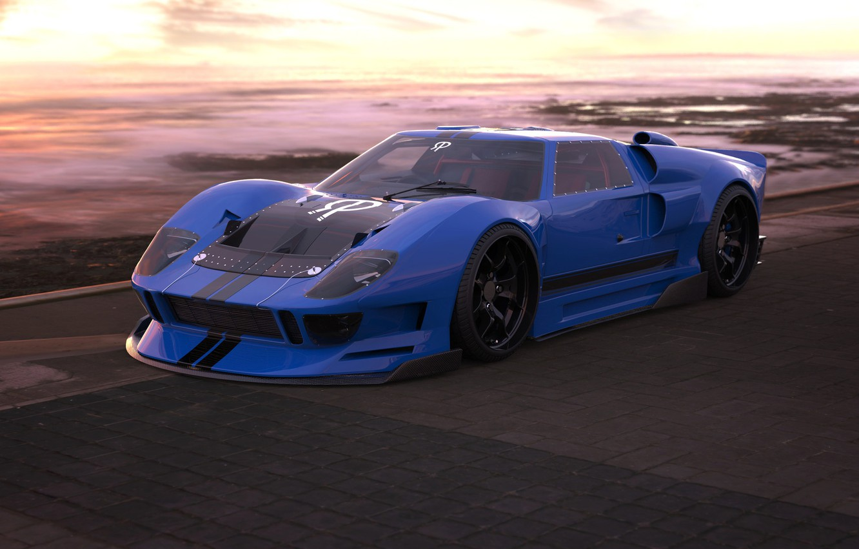 Фото обои Ford, Авто, Машина, Ford GT, Art, Суперкар, Рендеринг, Concept Art, Передок, Ford GT40, Transport & ...