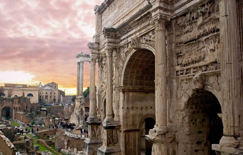 Фото обои Рим, Италия, Палатин, Триумфальная арка Септимия Севера
