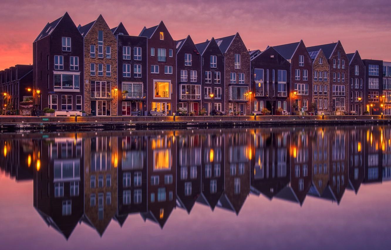 Фото обои отражение, река, дома, утро, Амстердам, Нидерланды