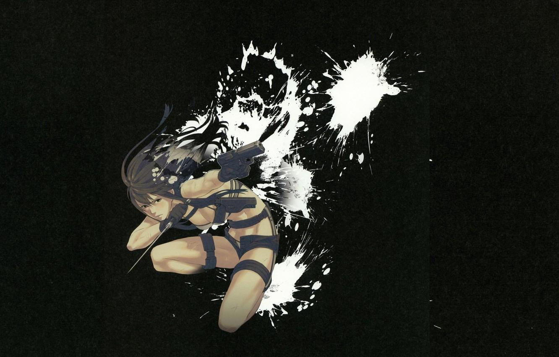 Фото обои пистолет, оружие, кинжал, убийца, в темноте, брызги краски, by Yuusuke Kozaki, Kyoko Karasuma no Jikendo, …
