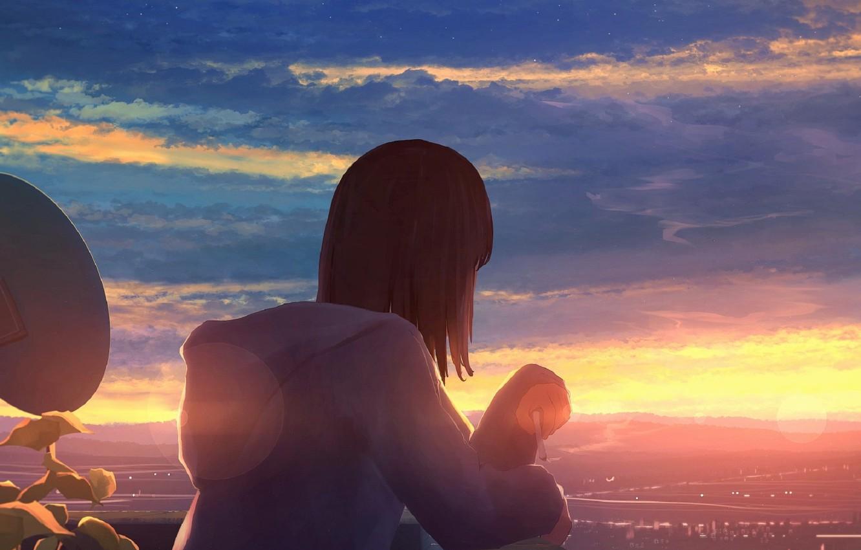 Фото обои небо, облака, город, рисунок, девочка, ma_tochichi