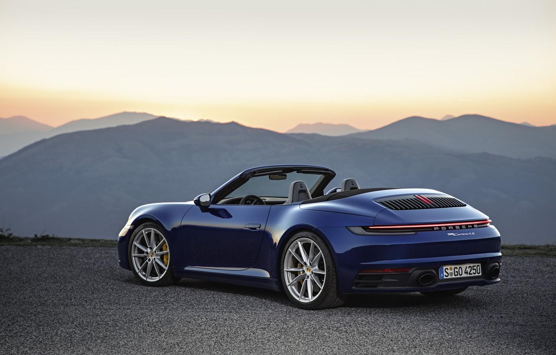 Фото обои синий, 911, Porsche, кабриолет, Cabriolet, Carrera 4S, 992, горб, 2019