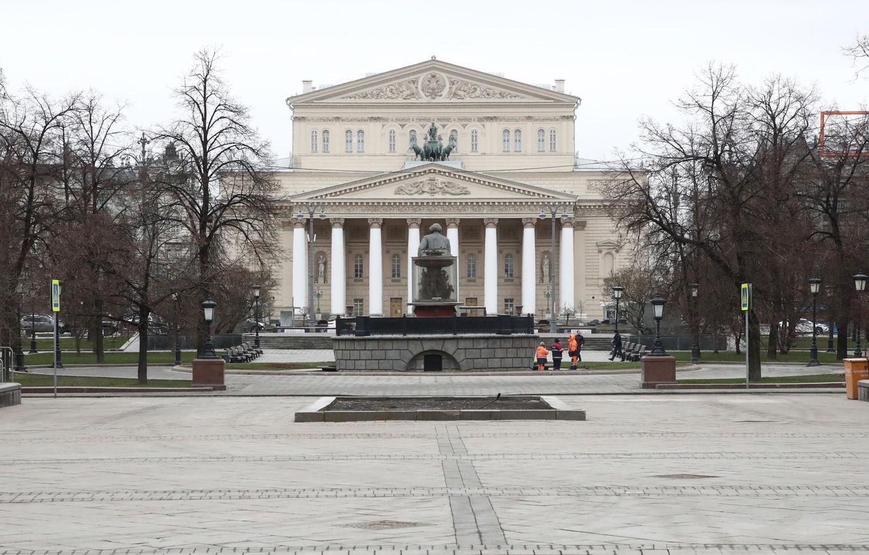 Фото обои город, Москва, Большой театр, начало апреля 2020г, безлюдная площадь, covid 19 - вирус - карантин