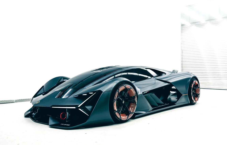 Фото обои фон, Lamborghini, помещение, 2017, Terzo Millennio Concept, не тёмный