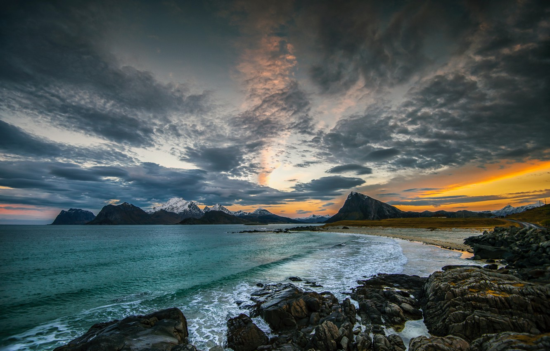 Фото обои свобода, облака, берег, красота, вечер, простор, space, sunset, freedom, закат солнца, clouds, evening, beauty, shore, …
