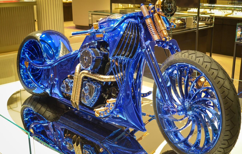 Фото обои Harley-Davidson, чоппер, Bucherer, Harley-Davidson Blue Edition