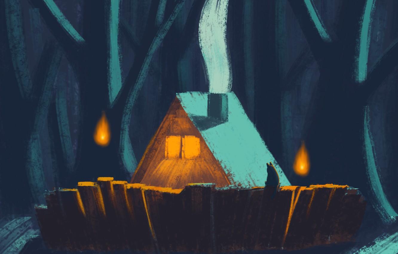 Фото обои кот, ночь, Дом, лунный свет, дом в лесу, ночной лес