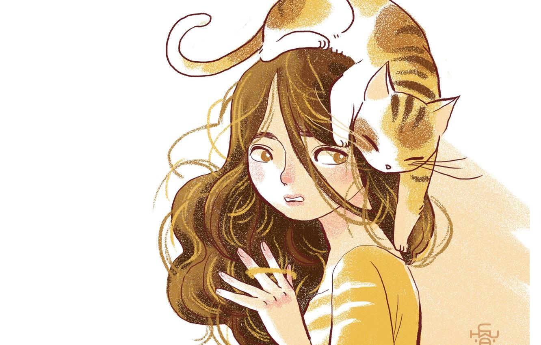 Фото обои белый фон, шатенка, вьющиеся волосы, полосатый кот, на голове, девушка с котом, by Adventureofmoc