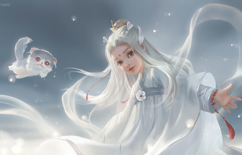 Фото обои арт, котёнок, принцесса, детская, ня, li miao, 剑网三同人