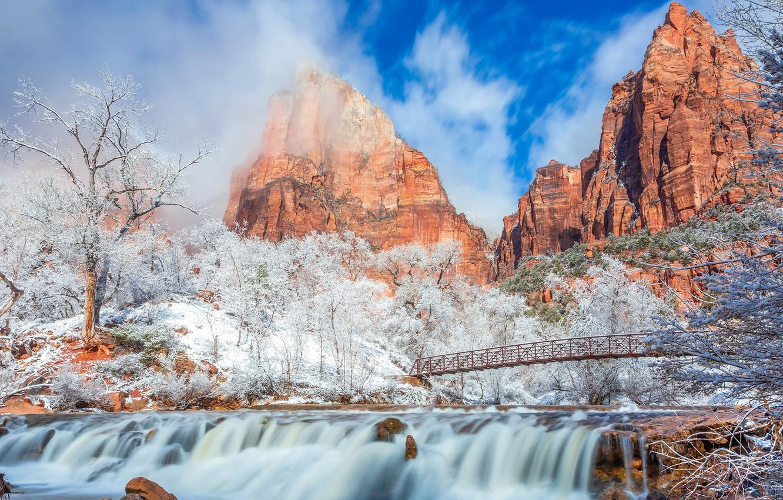 Обои Zion national park, сша, ручей, водопад, юта, скалы. Природа foto 12