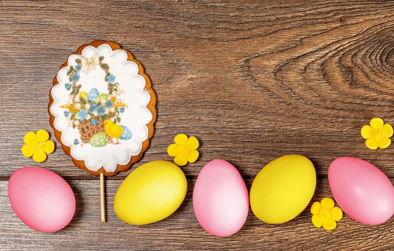 Фото обои фон, яйца, Пасха, цветочки, крашенки, пряник