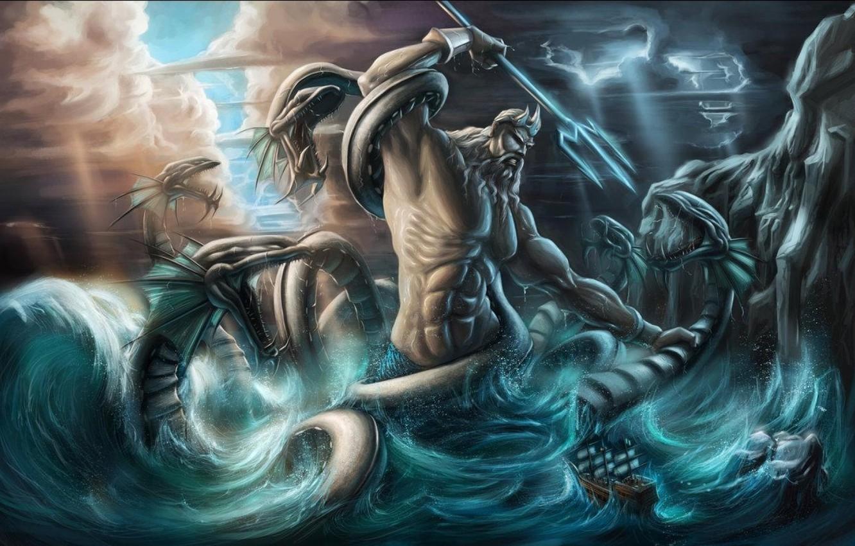 Фото обои змеи, молнии, корона, трезубец, бог морей, фантастический арт, могучее телосложение, свет свозь облака, синева моря, …