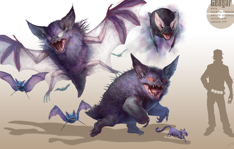 Фото обои арт, летучие мыши, покемон, pokemon